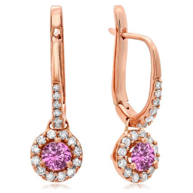 0.45 Carat (ctw) 10K Rose Gold Round Pink Sapphire & White Diamond Ladies Halo Style Dangling Drop Earrings 1/2 CT