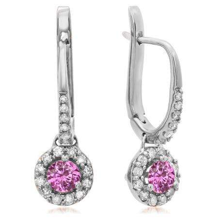 0.45 Carat (ctw) 10K White Gold Round Pink Sapphire & White Diamond Ladies Halo Style Dangling Drop Earrings 1/2 CT