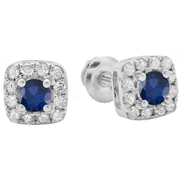 0.50 Carat (ctw) 10K White Gold Round Cut Blue Sapphire & White Diamond Ladies Square Frame Halo Stud Earrings 1/2 CT