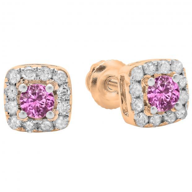 0.50 Carat (ctw) 10K Rose Gold Round Cut Pink Sapphire & White Diamond Ladies Square Frame Halo Stud Earrings 1/2 CT
