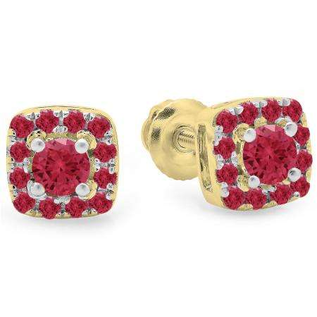 0.50 Carat (ctw) 18K Yellow Gold Round Cut Ruby Diamond Ladies Square Frame Halo Stud Earrings 1/2 CT