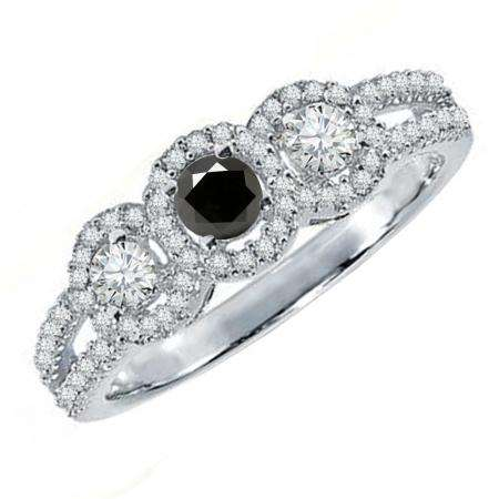 0.50 Carat (ctw) 10K White Gold Round Black & White Diamond Ladies 3 Stone Split Shank Engagement Bridal Ring 1/2 CT