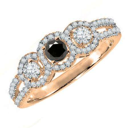 0.50 Carat (ctw) 18K Rose Gold Round Black & White Diamond Ladies 3 Stone Split Shank Engagement Bridal Ring 1/2 CT