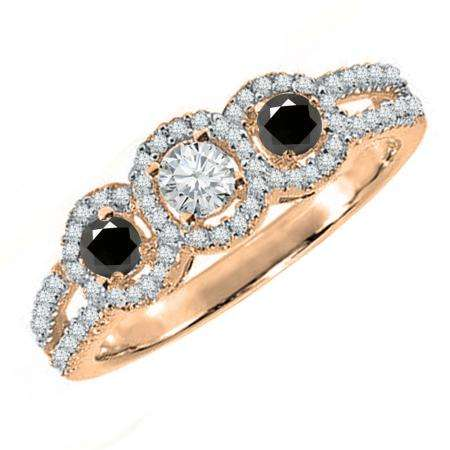 0.50 Carat (ctw) 10K Rose Gold Round Black & White Diamond Ladies 3 Stone Split Shank Engagement Bridal Ring 1/2 CT