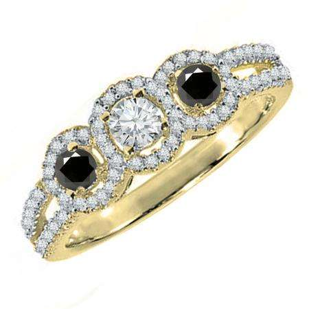 0.50 Carat (ctw) 10K Yellow Gold Round Black & White Diamond Ladies 3 Stone Split Shank Engagement Bridal Ring 1/2 CT