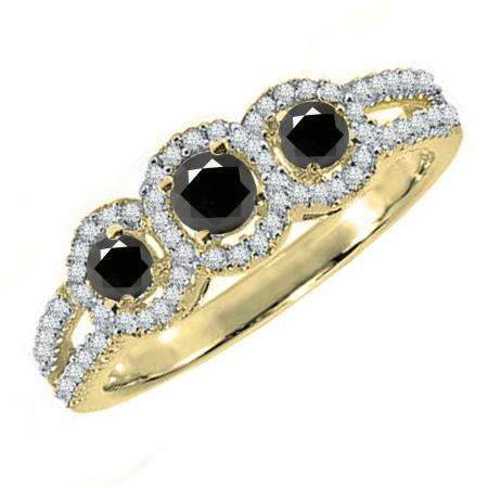 0.50 Carat (ctw) 10K Yellow Gold Round Black & White Diamond Ladies 3 Stone Split Shank Engagement Bridal Ring 1/2 CT