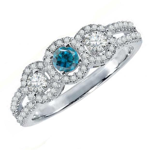 0.50 Carat (ctw) 10K White Gold Round Blue & White Diamond Ladies 3 Stone Split Shank Engagement Bridal Ring 1/2 CT