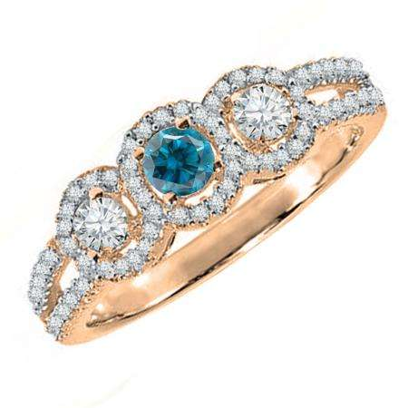 0.50 Carat (ctw) 14K Rose Gold Round Blue & White Diamond Ladies 3 Stone Split Shank Engagement Bridal Ring 1/2 CT