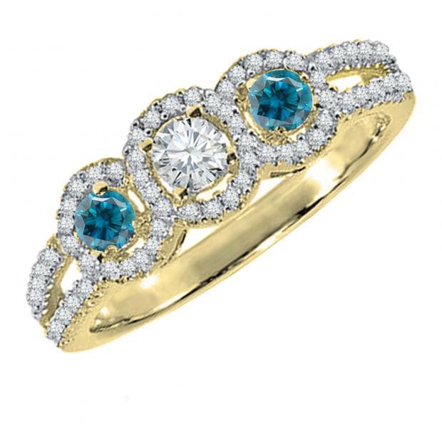 0.50 Carat (ctw) 10K Yellow Gold Round Blue & White Diamond Ladies 3 Stone Split Shank Engagement Bridal Ring 1/2 CT