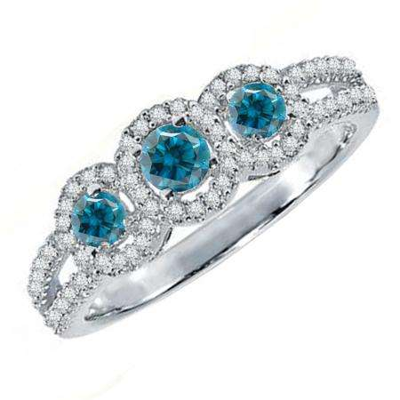 0.50 Carat (ctw) 18K White Gold Round Blue & White Diamond Ladies 3 Stone Split Shank Engagement Bridal Ring 1/2 CT