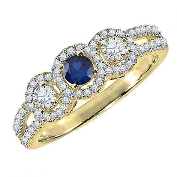 0.50 Carat (ctw) 10K Yellow Gold Round Blue Sapphire & White Diamond Ladies 3 Stone Split Shank Engagement Bridal Ring 1/2 CT