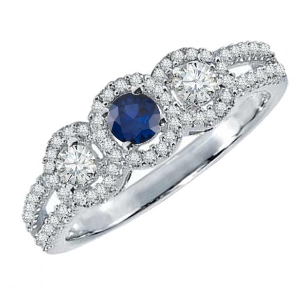0.50 Carat (ctw) 18K White Gold Round Blue Sapphire & White Diamond Ladies 3 Stone Split Shank Engagement Bridal Ring 1/2 CT