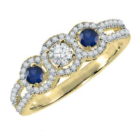 0.50 Carat (ctw) 10K Yellow Gold Round Blue Sapphire & White Diamond Ladies 3 Stone Split Shank Engagement Bridal Ring 1/2 CT