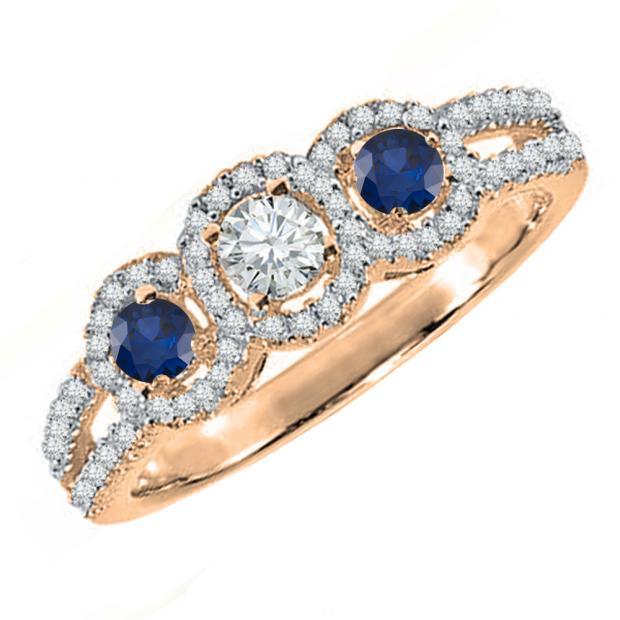 0.50 Carat (ctw) 14K Rose Gold Round Blue Sapphire & White Diamond Ladies 3 Stone Split Shank Engagement Bridal Ring 1/2 CT