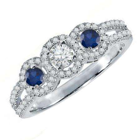 0.50 Carat (ctw) 18K White Gold Round Blue Sapphire & White Diamond Ladies 3 Stone Split Shank Engagement Bridal Ring 1/2 CT