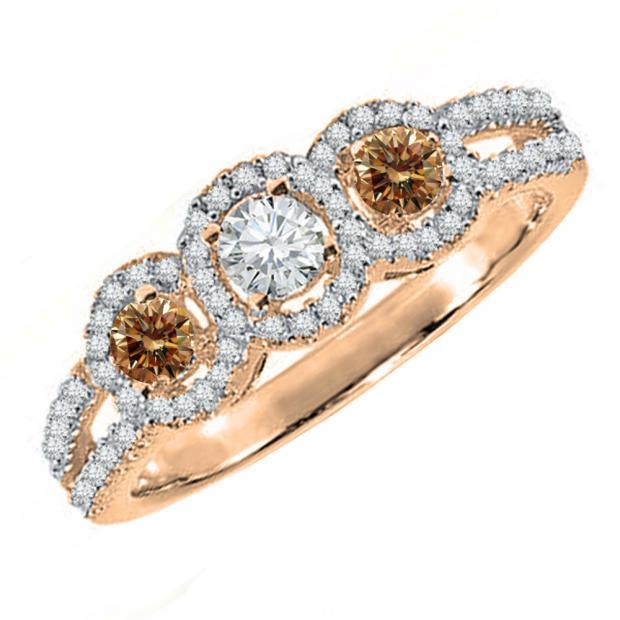 0.50 Carat (ctw) 10K Rose Gold Round Champagne & White Diamond Ladies 3 Stone Split Shank Engagement Bridal Ring 1/2 CT