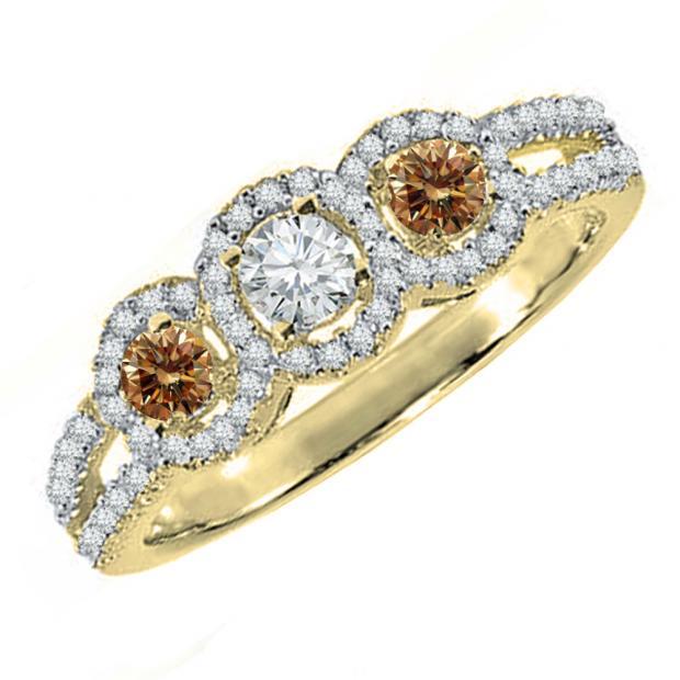 0.50 Carat (ctw) 10K Yellow Gold Round Champagne & White Diamond Ladies 3 Stone Split Shank Engagement Bridal Ring 1/2 CT