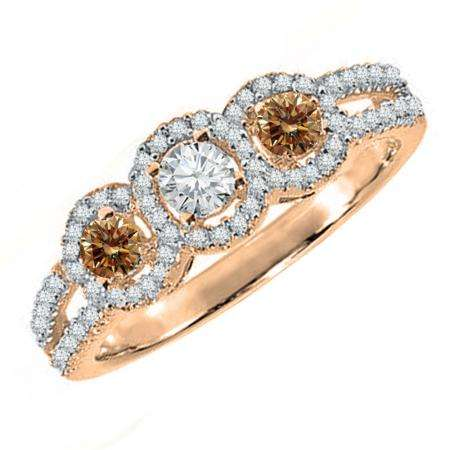 0.50 Carat (ctw) 14K Rose Gold Round Champagne & White Diamond Ladies 3 Stone Split Shank Engagement Bridal Ring 1/2 CT