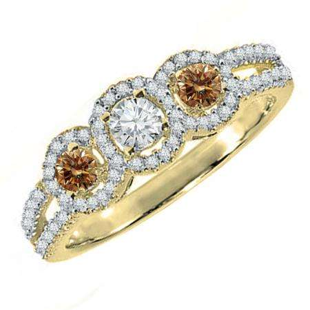 0.50 Carat (ctw) 18K Yellow Gold Round Champagne & White Diamond Ladies 3 Stone Split Shank Engagement Bridal Ring 1/2 CT