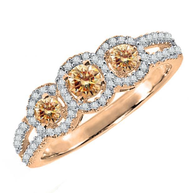 0.50 Carat (ctw) 14K Rose Gold Round Champagne & White Diamond Ladies 3 Stone Split Shank Engagement Bridal Ring 1/2 CT