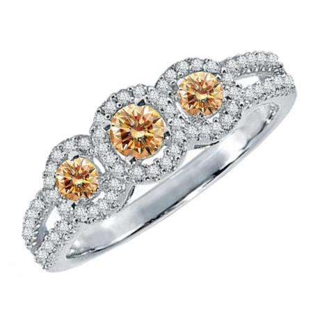 0.50 Carat (ctw) 18K White Gold Round Champagne & White Diamond Ladies 3 Stone Split Shank Engagement Bridal Ring 1/2 CT