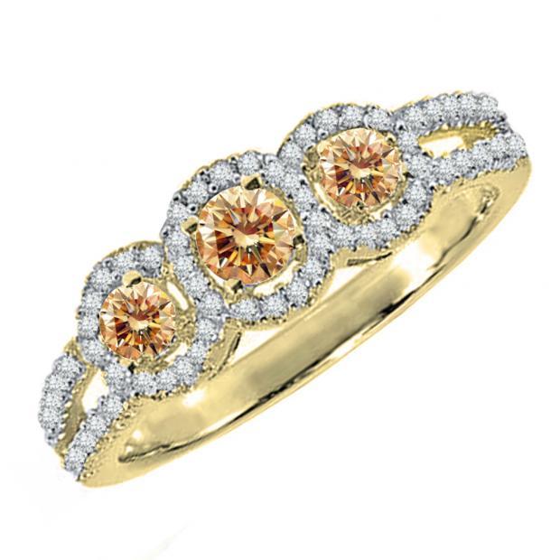 0.50 Carat (ctw) 18K Yellow Gold Round Champagne & White Diamond Ladies 3 Stone Split Shank Engagement Bridal Ring 1/2 CT