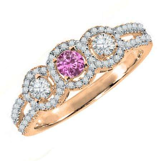 0.50 Carat (ctw) 14K Rose Gold Round Pink Sapphire & White Diamond Ladies 3 Stone Split Shank Engagement Bridal Ring 1/2 CT