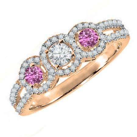 0.50 Carat (ctw) 18K Rose Gold Round Pink Sapphire & White Diamond Ladies 3 Stone Split Shank Engagement Bridal Ring 1/2 CT