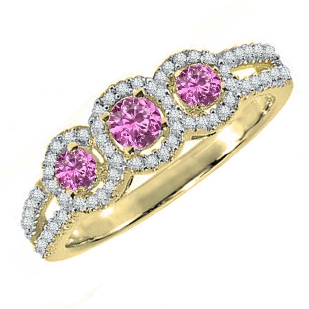 0.50 Carat (ctw) 10K Yellow Gold Round Pink Sapphire & White Diamond Ladies 3 Stone Split Shank Engagement Bridal Ring 1/2 CT
