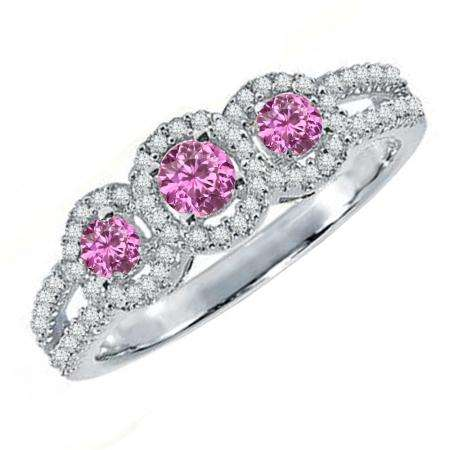 0.50 Carat (ctw) 18K White Gold Round Pink Sapphire & White Diamond Ladies 3 Stone Split Shank Engagement Bridal Ring 1/2 CT