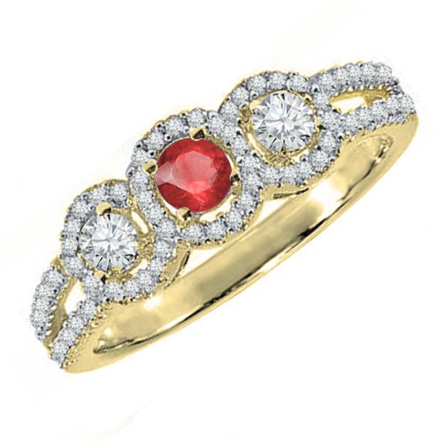 0.50 Carat (ctw) 14K Yellow Gold Round Red Ruby & White Diamond Ladies 3 Stone Split Shank Engagement Bridal Ring 1/2 CT