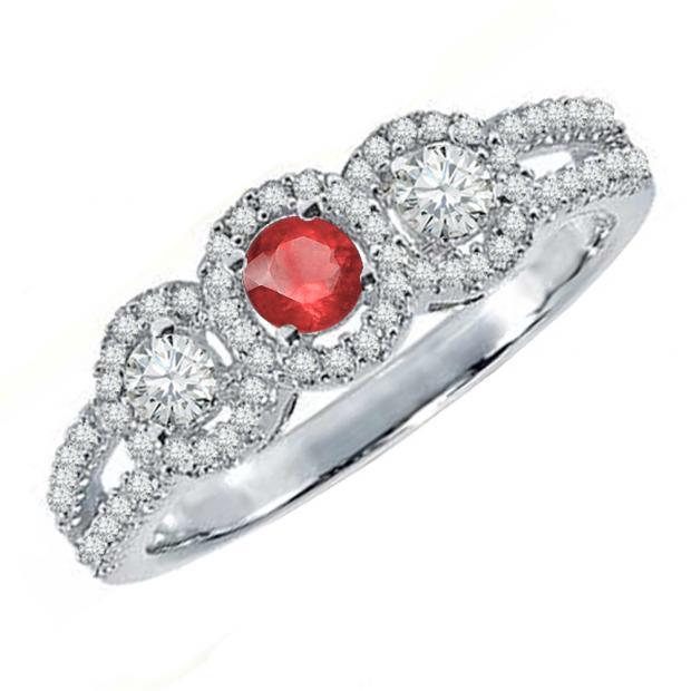 0.50 Carat (ctw) 18K White Gold Round Red Ruby & White Diamond Ladies 3 Stone Split Shank Engagement Bridal Ring 1/2 CT