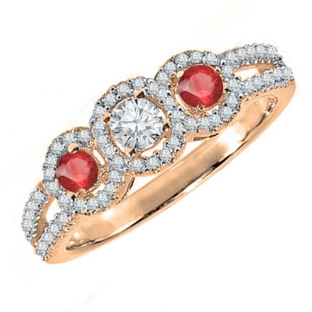 0.50 Carat (ctw) 10K Rose Gold Round Red Ruby & White Diamond Ladies 3 Stone Split Shank Engagement Bridal Ring 1/2 CT
