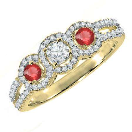 0.50 Carat (ctw) 10K Yellow Gold Round Red Ruby & White Diamond Ladies 3 Stone Split Shank Engagement Bridal Ring 1/2 CT