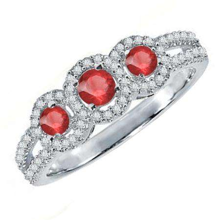 0.50 Carat (ctw) 18K White Gold Round Red Ruby & White Diamond Ladies 3 Stone Split Shank Engagement Bridal Ring 1/2 CT