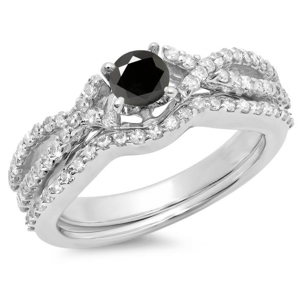 1.00 Carat (ctw) 10K White Gold Round Cut Black & White Diamond Ladies Bridal Swirl Split Shank Engagement Ring With Matching Band Set 1 CT