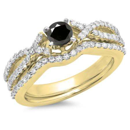 1.00 Carat (ctw) 14K Yellow Gold Round Cut Black & White Diamond Ladies Bridal Swirl Split Shank Engagement Ring With Matching Band Set 1 CT