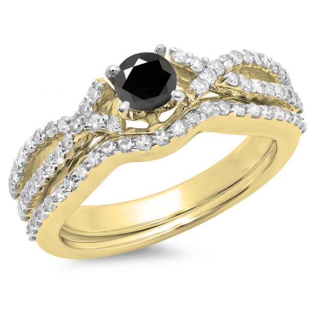 1.00 Carat (ctw) 14K Yellow Gold Round Cut Black & White Diamond Ladies Bridal Swirl Split Shank Engagement Ring With Matching Band Set 1 CT
