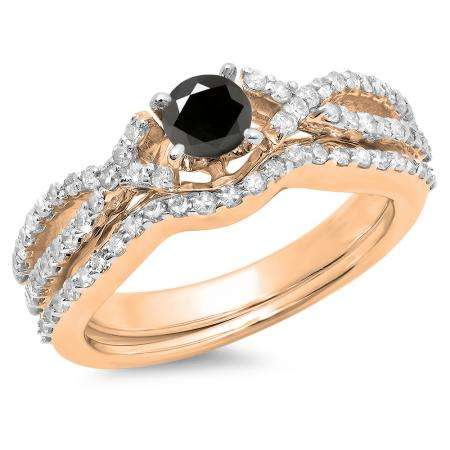 1.00 Carat (ctw) 18K Rose Gold Round Cut Black & White Diamond Ladies Bridal Swirl Split Shank Engagement Ring With Matching Band Set 1 CT