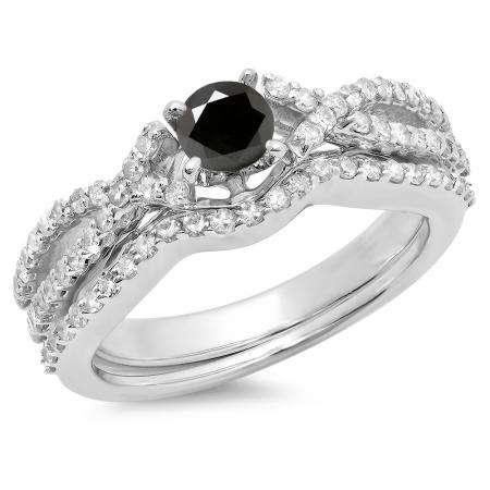 1.00 Carat (ctw) 18K White Gold Round Cut Black & White Diamond Ladies Bridal Swirl Split Shank Engagement Ring With Matching Band Set 1 CT