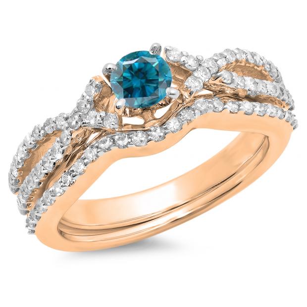 1.00 Carat (ctw) 14K Rose Gold Round Cut Blue & White Diamond Ladies Bridal Swirl Split Shank Engagement Ring With Matching Band Set 1 CT