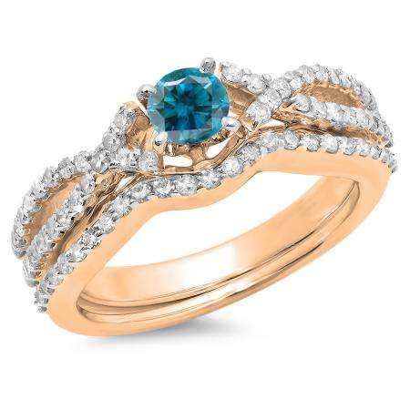 1.00 Carat (ctw) 18K Rose Gold Round Cut Blue & White Diamond Ladies Bridal Swirl Split Shank Engagement Ring With Matching Band Set 1 CT