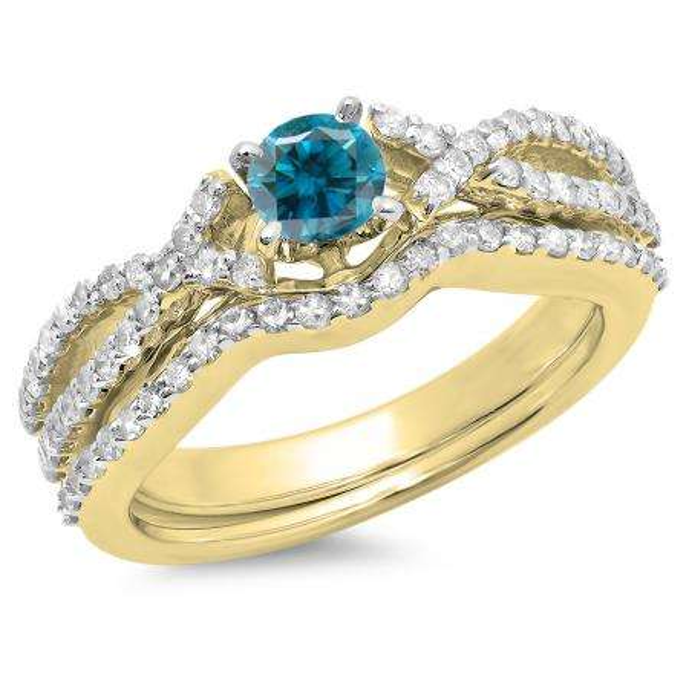 1.00 Carat (ctw) 18K Yellow Gold Round Cut Blue & White Diamond Ladies Bridal Swirl Split Shank Engagement Ring With Matching Band Set 1 CT