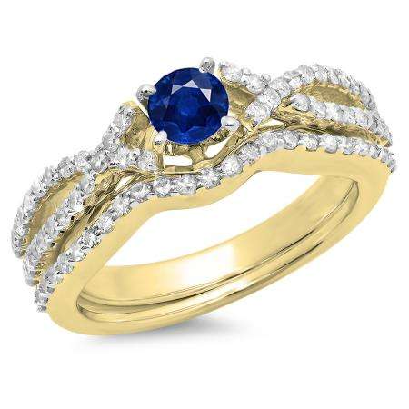 1.00 Carat (ctw) 14K Yellow Gold Round Cut Blue Sapphire & White Diamond Ladies Bridal Swirl Split Shank Engagement Ring With Matching Band Set 1 CT