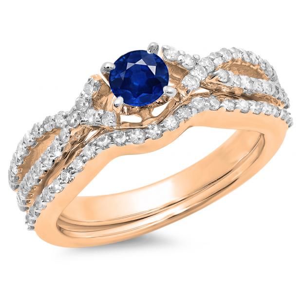 1.00 Carat (ctw) 18K Rose Gold Round Cut Blue Sapphire & White Diamond Ladies Bridal Swirl Split Shank Engagement Ring With Matching Band Set 1 CT