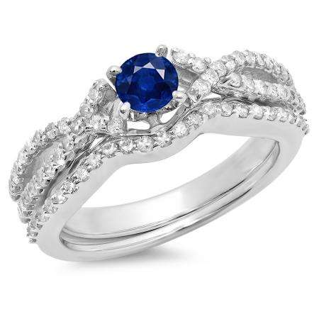 1.00 Carat (ctw) 18K White Gold Round Cut Blue Sapphire & White Diamond Ladies Bridal Swirl Split Shank Engagement Ring With Matching Band Set 1 CT
