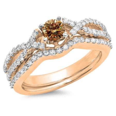 1.00 Carat (ctw) 14K Rose Gold Round Cut Champagne & White Diamond Ladies Bridal Swirl Split Shank Engagement Ring With Matching Band Set 1 CT