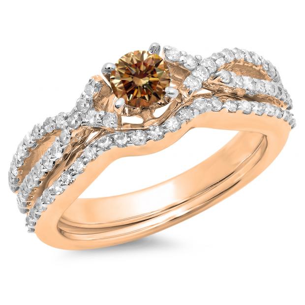 1.00 Carat (ctw) 18K Rose Gold Round Cut Champagne & White Diamond Ladies Bridal Swirl Split Shank Engagement Ring With Matching Band Set 1 CT