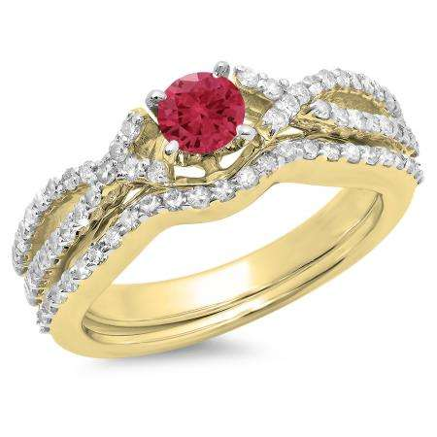1.00 Carat (ctw) 14K Yellow Gold Round Cut Red Ruby & White Diamond Ladies Bridal Swirl Split Shank Engagement Ring With Matching Band Set 1 CT