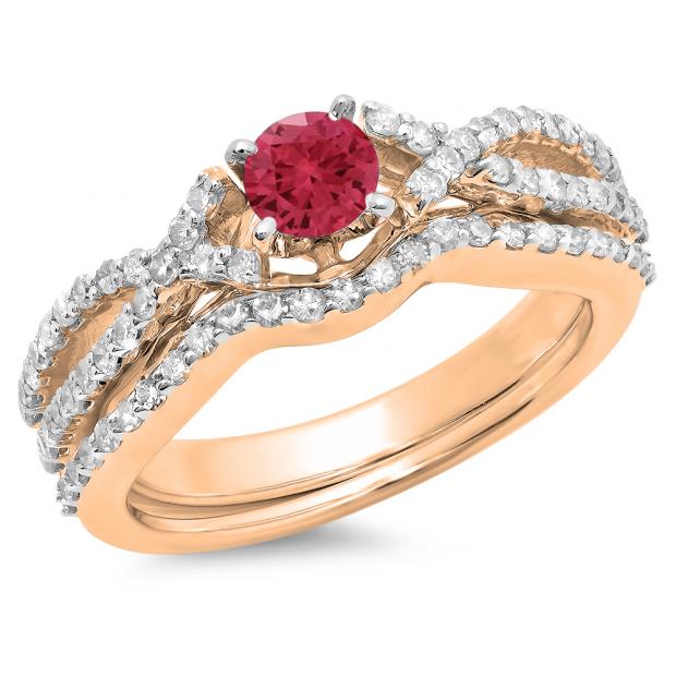1.00 Carat (ctw) 18K Rose Gold Round Cut Red Ruby & White Diamond Ladies Bridal Swirl Split Shank Engagement Ring With Matching Band Set 1 CT